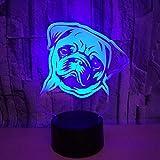 Shar Pei LED Veilleuse 7 Couleur Changeante Vision 3D Optique Lllusion Lampe Pet...