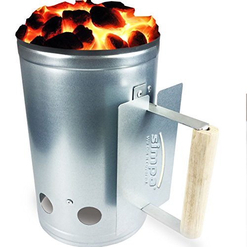 Simpa® Chimney Charcoal Coal Fast Starter Kit with Wooden Handle 27.5cm (H) x 17cm (W)