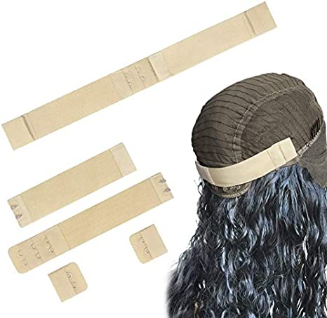 Hua Si Adjustable Elastic Band With Hooks for Wigs//Lace Closure//Bra//Lace Frontal Sewing Band Wig Grips 4 Pack