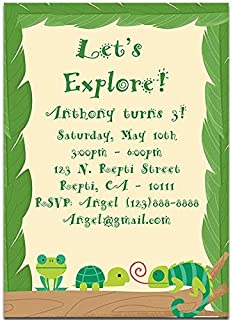 Reptile and Frog Birthday Party Invitations