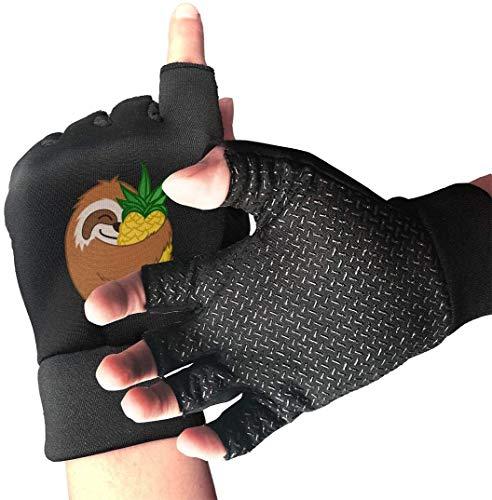 Licht Saber Dun Handschoenen voor halfvinger met handvat, ananas, print, voor gym, gewichtheffen, training, fitning, biking