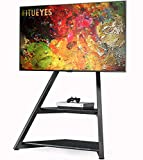 FITUEYES Artistic Floor TV Stand Eiffel Series for 43-75 Inch LCD/LED Flat Curved Screens Universal TV Mount Stand Height Adjustable with Wood Base Shelf– Hide Your Wires