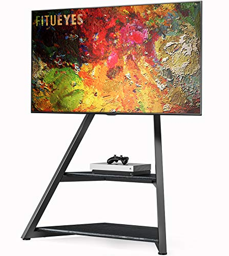 FITUEYES Artistic Floor TV Stand Black for 43-75 Inch TVs Eiffel Series Modern TV Stand with Mount for LCD/LED Flat Curved Screens Height Adjustable – Hide Your Wires, Wood Shelf Open Storage