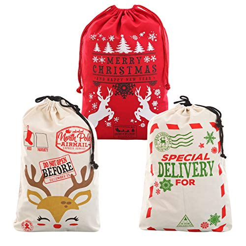 3 Packs Christmas Gift Bags, Santa Burlap Sack with Drawstring 26' x 19' for Large Xmas Package Storage, Event Party Supplies, Christmas Party Favors