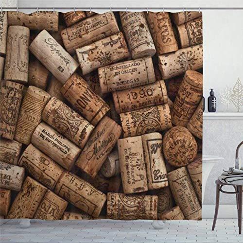 BYRON HOYLE Corchos de vino natural cortinas de ducha de madera para baño cortina de ducha con ganchos poliéster cortinas de baño 60x72 pulgadas fc376