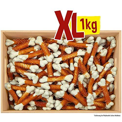 Antos Hundeleckerli 1 kg Snack Knochen - Hundeleckerli mit Hühnerbrust umwickelt - reich an Calcium