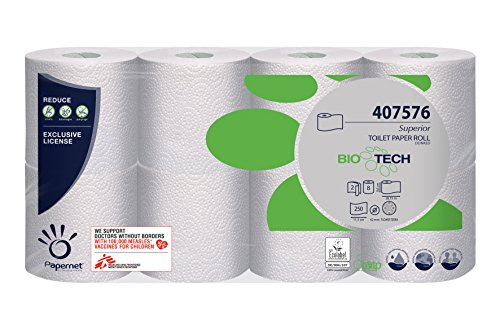 64 Rollen Papernet Superior White, 2-lagig, 250 Blatt, Bio Tech, Toilettenpapier