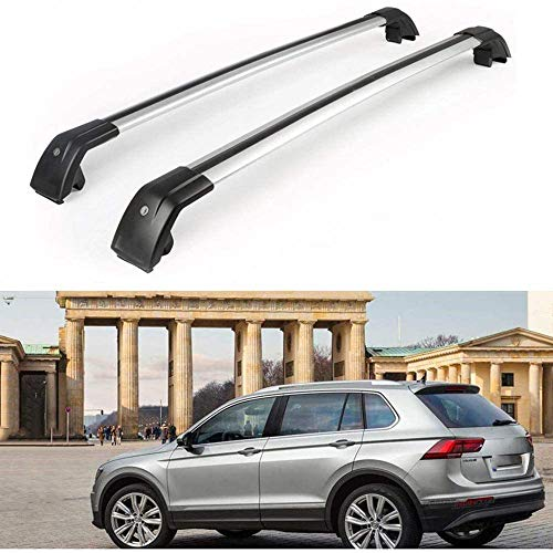 MotorFansClub Roof Racks Cross Bars Fit for Compatible with Volkswagen Tiguan 2018 2019 Crossbars Baggage Cargo Luggage Racks Rail Lockable Aluminum (2 PCS)