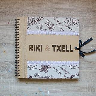 Libro de firmas decorado estilo vintage - rústico para bodas y ocasiones especiales y su decoración. Nombres novios inclui...