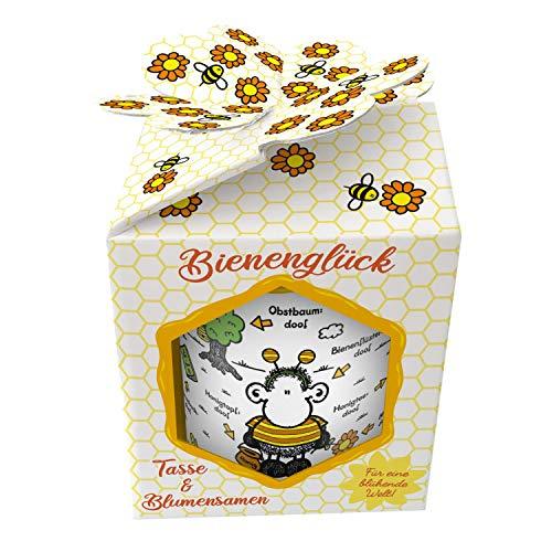 Sheepworld 46551 XL Bienen ist Alles doof, mit Wildblumensamen, in Geschenk-Box Tasse, Porzellan
