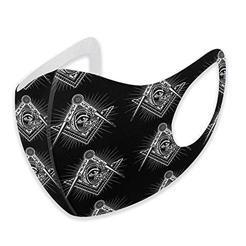 asdew987 Masonería Masonería Logos Masón Negro Tela Ajustable Algodón Mascarilla Unisex Adulto para Mujeres Hombres