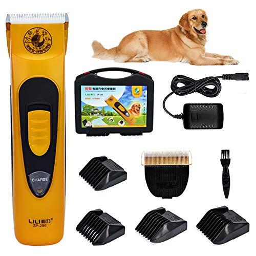 Professionele hondentondeuse, huisdiertrimmer, elektrische professionele tondeuse, oplaadbare draadloze, geluidsarme snoer, klein zachtharig huisdier (geel)