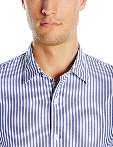 Goodthreads Men's Standard-Fit Long-Sleeve Banker Striped Shirt, Blue, Small