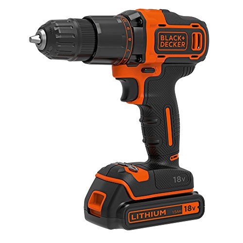BLACK+DECKER 18 V Cordless 2-Gear Combi Hammer Drill Power Tool with Kitbox, 1.5 Ah Lithium-Ion, BCD700S1K-GB