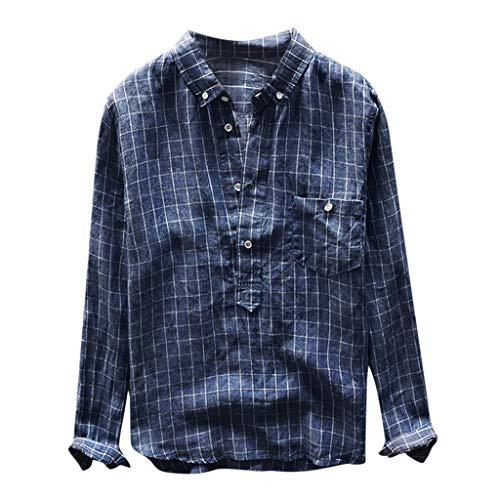 Preisvergleich Produktbild UINGKID Herren T-Shirt Kurzarm Slim fit Retro Plaid Langarm Knopf Tasche Plus Size Umlegekragen Shirts