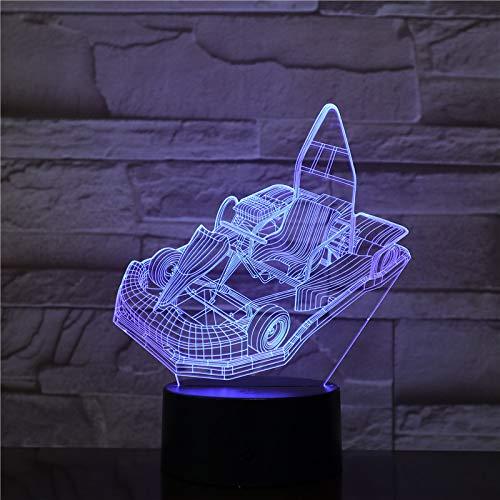 Led 3D Go-Kart Modeling Night Light Kids Touch Button Lighting Decoración creativa para el hogar 7 colores cambian Karting Car Table Lamp 2476