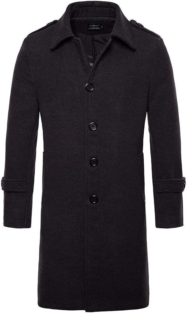 XIAOADAI Men's Slim Fit Wool Blend Overcoat Jacket Wool Top Coat