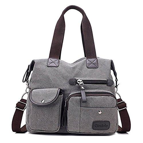 Gindoly Damen Canvas Handtasche Groß Modisch Umhängetasche Multi Tasche Schultertasche Hobo für Reisen Schule Shopping und Arbeit (Grau)