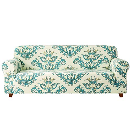 Subrtex Sofabezug mit Muster Blumen Stretch Sofahusse Elastisch Sesselhusse mit Armlehne Couch überzug Abwaschbar (2 Sitzer, Grün)