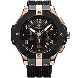 Megir Herren Uhren Luxus Rose Gold Militär Armbanduhr mit Schwarz Silikonarmband Groß Chronograph Kalender Wasserdicht XL