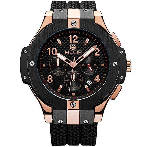 Megir Herren Uhren Rose Gold Militär Armbanduhr mit Schwarz Silikonarmband Groß Chronograph Kalender Wasserdicht XL