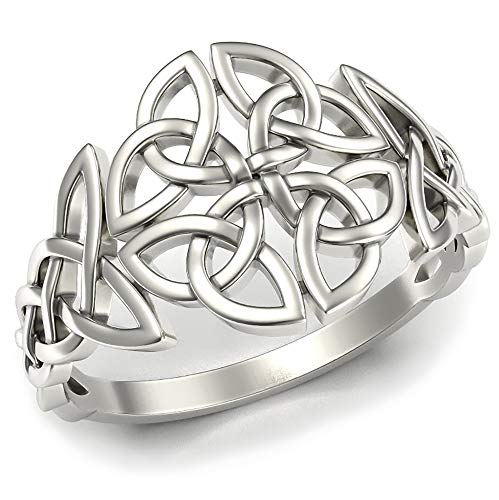 Celtic Trinity Knot Band Ring Sterling Silver 925 Filigree Braided Woven Viking Irish Promise Engagement Rings Norse Jewelry for Women Girls Size 8.5 (8.5)