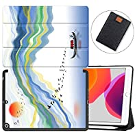 """MAITTAO iPad 10.2"""" 2019 Case with Apple Pencil Holder,Folio Stand Smart Cover Shockproof Soft TPU Back Shell For iPad 7th Generation 10.2 inch Tablet Sleeve Bag 2 in 1 Bundle,Chinese Landscape 16"""