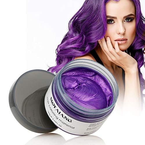 MOFAJANG Hair Color Wax Styling Cream Mud, Temporary Hair Dye Wax, Natural Hairstyle Dye Pomade for Party Cosplay, Halloween, 4.23 OZ, Purple