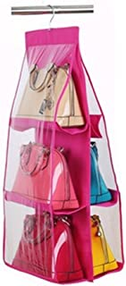 FAVOLOOK Handbag Hanging Organizer  Pocket Handbag Anti-dust Cover Clear Hanging Closet Bags Organizer Purse Holder Collection Shoes Save Space Pink