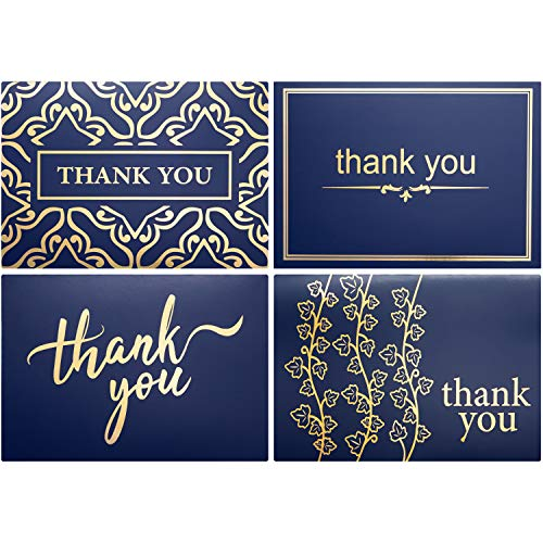 Layneria 100 Bulk Thank You Cards with Envelopes navy blue and gold Foil Designs - Blank Thank You Notes with Envelopes for Wedding Bridal Gift Baby Shower Business Graduation Funeral - 4x6 Photo Size