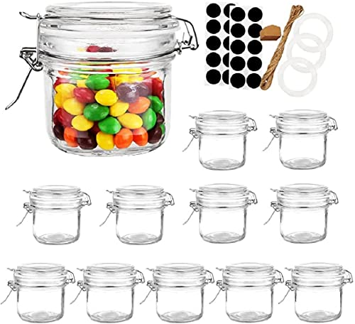 Folinstall 12 Pcs 8 oz Glass Jars with Airtight Lids, Small Mason Jars with Hinged Lids for Pantry, Kitchen Storage Jars. Extra 3 Replacement Silicone Gaskets, Chalkboard Labels and Tag Strings Includ