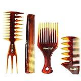 Yililay 4PCS peines Conjunto para el Hombre, plástico Salon Barberos Peluquería Peines Conjunto antiestático Retro Shaping absorción de Humedad del Peluquero Accesorios