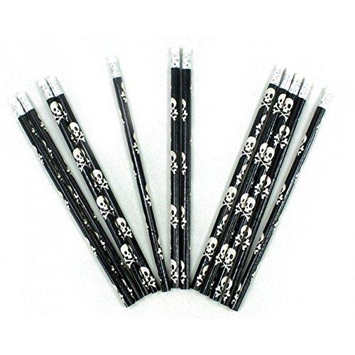 12 Bleistifte mit Radiergummi im Set - Totenkopf - Piraten- Motiv- ideal für die Schule oder als Mitgebsel zur Geburtstagsparty B03