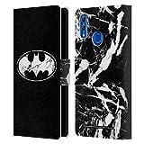 Head Case Designs Licenciado Oficialmente Batman DC Comics Mármol Logotipos Carcasa de Cuero Tipo Libro Compatible con Huawei Honor 10 Lite