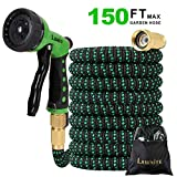 150 ft Expandable Garden Hose, 8 Function Premium Metal Sprinkler, Heavy Duty Flexible Expanding Water Hose, Garden Water Hose with 3/4' Solid Brass Connectors, Best Choice for Watering and Washing