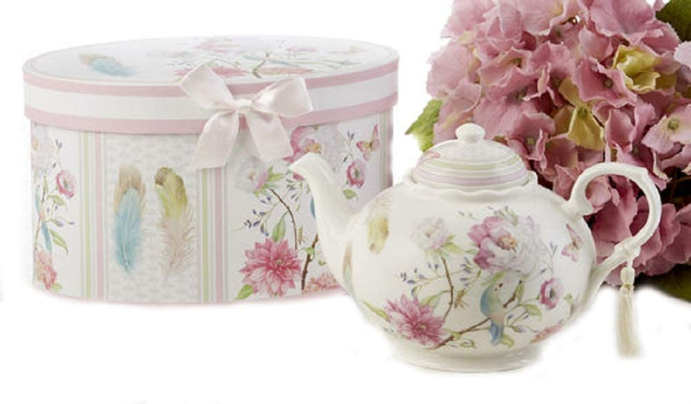 Delton Products Feather & Floral 9.5 inches x 5.6 inches Porcelain Tea Pot in Gift Box Serveware