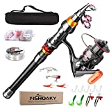 FISHOAKY Fishing Rod kit, Carbon Fiber Reel Combo Pole and Telescopic Fishing with Line Lures Tackle Hooks Reel Carrier Bag for Adults Saltwater Freshwater Travel (1.8)