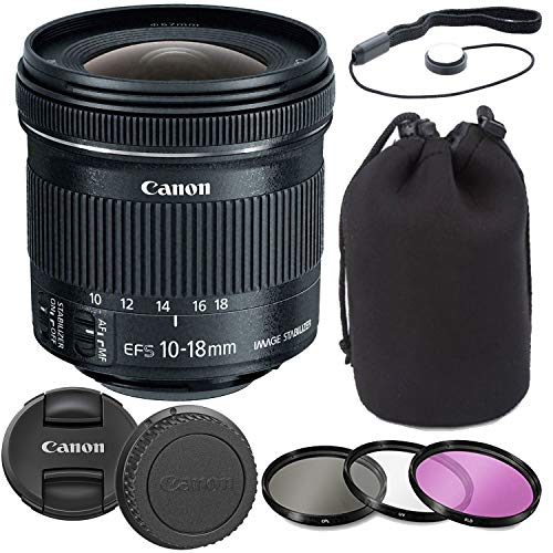 Canon EF-S 10-18mm f/4.5-5.6 is STM Lens with Lens Pouch, Commander Optics 3 Piece Filter Kit, Cap Keeper