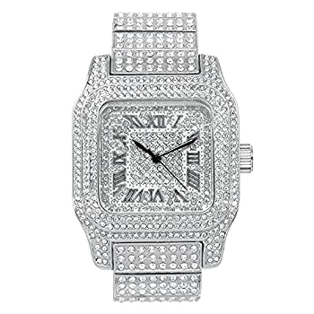 Mens Hip Hop Iced Out Large Square Dial Silver Watch with Simulated Diamonds on Dial and Side of Case- Diamond Studded Adjustable Strap - Quartz Movement