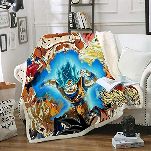 TTLDB Dekens Dragon Ball Anime 3D Gedrukt Double Thicken Deken Winter Koraal Fleece Deken Slaapbank Bed Cover Bedding