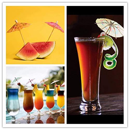 Cocktail Dekoration Papier,50 Stück Cocktail Picks Papier-Regenschirm für Bar Deko Cocktailzubehör Fiesta,Tropical Oder Beach Parties - 3