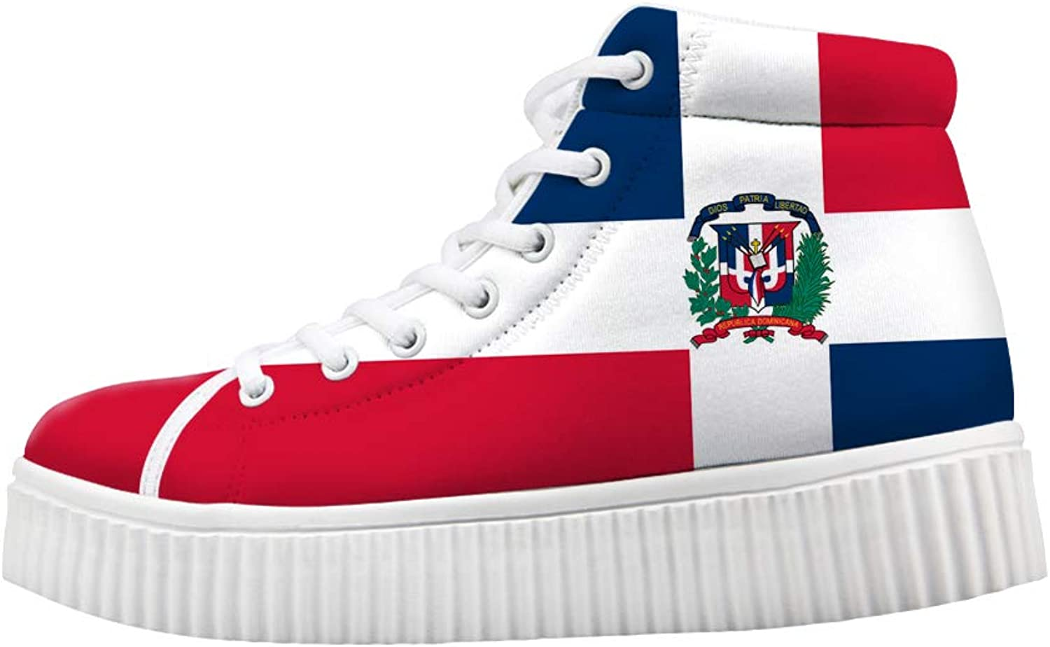 Owaheson Platform Lace up Sneaker Casual Chunky Walking shoes High Top Women Dominica Flag