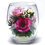 Fiora Flower | Long Lasting Roses in a Sealed Glass Vase | Fresh Cut Roses – Preserved Roses| Unique Present Gift (Tulipbud Vase)