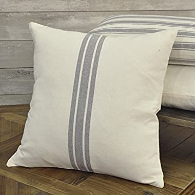 Piper Classics Market Place Grain Sack Ticking Stripe Pillow Cover, 20  x 20 , Farmhouse Décor, Grey & Cream