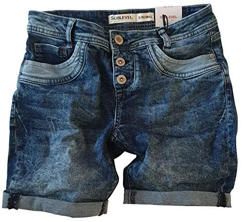 STS STS 15 Farben Damen Jeans Bermuda Short by Boyfriend Look tiefer Schritt Jeansbermuda mit Kontrastnähten Washed (40, Middle Blue)
