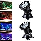 AORUNZHI Fernbedienung LED-Beleuchtung Gartenteichleuchten, Teichstrahler, farbwechselnde Aquariumleuchten mit Fernbedienung (2er-Set)