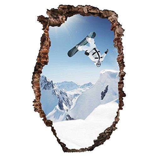 Bilderwelten 3D Wandtattoo - Fliegender Snowboarder - Hoch 3: 2, Größe: 60cm x 40cm