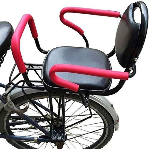 GYYlucky Asiento Trasero para Bicicleta para Adultos, Asiento Trasero para Bicicleta, con Almohadilla Y Pedales De Respaldo/Reposabrazos Y Valla Extraíble, para Niños De 2,5 A 8 Años