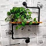 SGJ-Floating Shelf Porta Pipe in Ferro Loft Stile retrò Stile Industriale Parete Decorativa Porta Carta igienica Finitura Ferro partizione