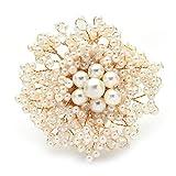 Broche de flor de perla completo hecho a mano, suéter y abrigo de mujer, broches, regalo de joyería, predeterminado
